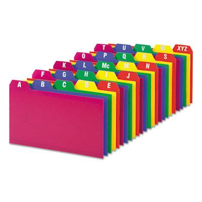 Card Guides, Alpha, 1/5 Tab, Polypropylene, 3 x 5, 25/Set