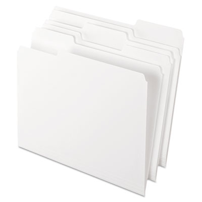 Two-Tone File Folders, 1/3 Cut Top Tab, Letter, White, 100/Box