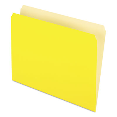 Two-Tone File Folder, Straight Top Tab, Letter, Yellow/Light Yel