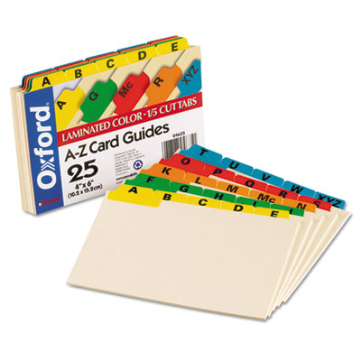 Laminated Tab Index Card Guides, Alpha, 1/5 Tab, Manila, 4 x 6,