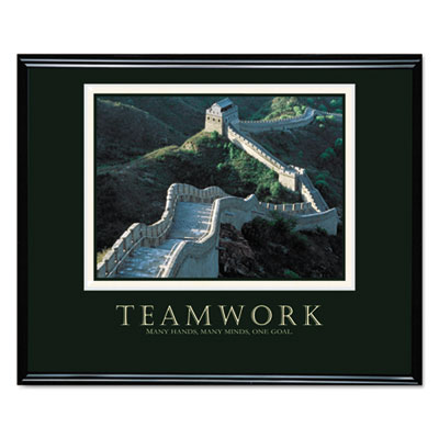 """Teamwork"" (Great Wall Of China) Framed Motivational Print, 30 x"