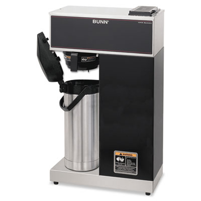 Airpot Coffee Brewer, Brews 3.8gal, Stainless Steel w/Black Acce