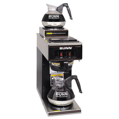 12-Cup Two-Station Commercial Pour-O-Matic Coffee Brewer, Stainl