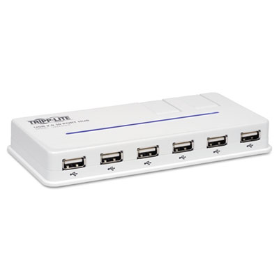 10-Port USB 2.0 Hub, 6-1/5w x 3d x 3/4h, White