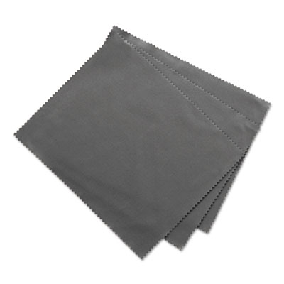 """Microfiber Cleaning Cloths, 6"""" x 7"""", Grey, 3/Pack"""