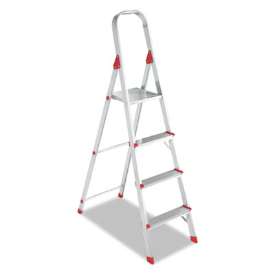 #566 Four-Foot Folding Aluminum Euro Platform Ladder, Red