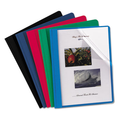 Clear Front Report Cover, 3 Fasteners, Letter, Assorted Colors,