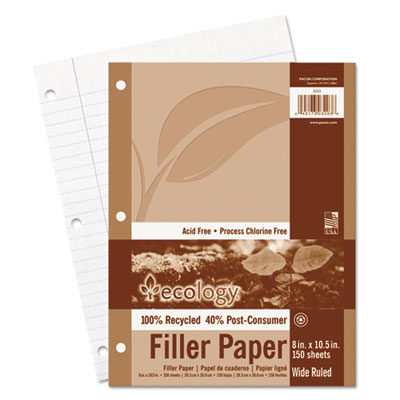 Ecology Filler Paper, 8 x 10-1/2, Wide Ruled, 3-Hole Punch, Whit