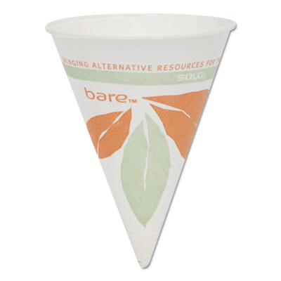 Bare Eco-Forward Paper Cone Water Cups, 4oz, White, 200/Pack, 25