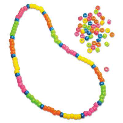 Pony Beads, Plastic, 6mm x 9mm, Assorted Neon Colors, 1000 Beads