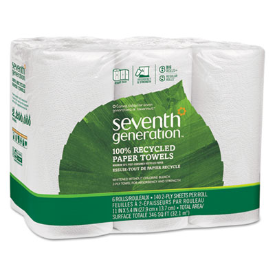 100% Recycled Paper Towel Rolls, 140 Sheets/Roll, White, 6/Pack