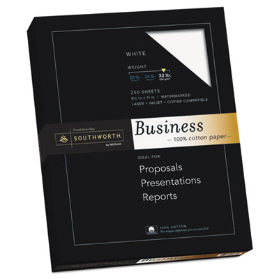 100% Cotton Business Paper, White, 32 lbs., 8-1/2 x 11, 250/Box