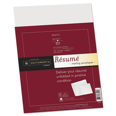 25% Cotton Resume Envelopes,White, 24 lbs.,  9 x 12, Wove, 25/Bo