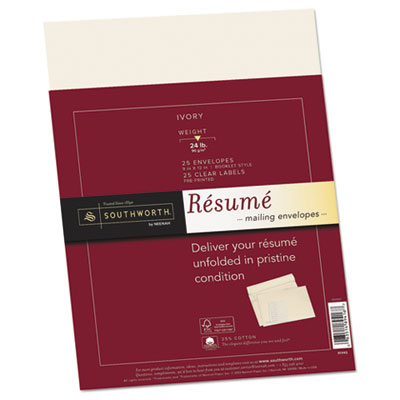 25% Cotton Resume Envelopes, Ivory, 24 lbs., 9 x 12, Wove, 25/Bo