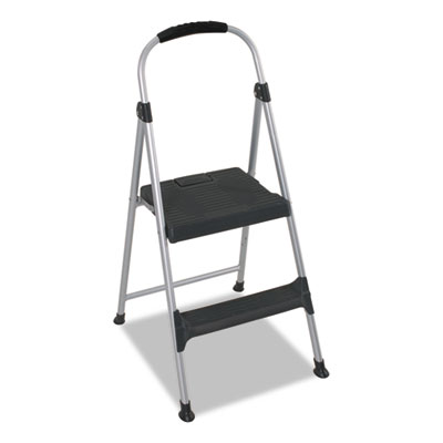"Aluminum Step Stool, 2-Step, 225lb, 18 9/10"" Working Height, Pla"
