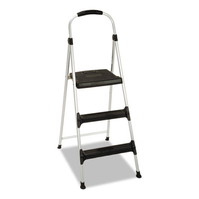 "Aluminum Step Stool, 3-Step, 225lb, 28 29/64"" Working Height, Pl"
