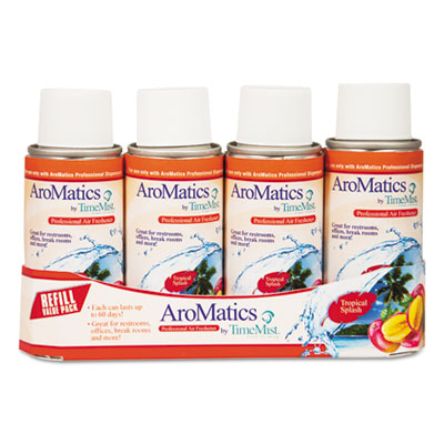 AroMatics Refill, Tropical Splash, 3oz Aerosol, 4/Pack