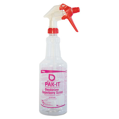 Color-Coded Trigger-Spray Bottle, 32 oz, Dark Red: Deodorizer -