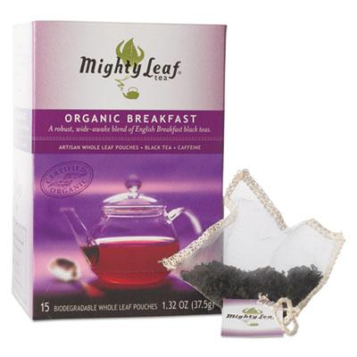 Whole Leaf Tea Pouches, Organic Breakfast Blend, 15/Box