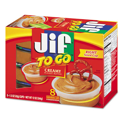 Jif To Go, Creamy Peanut Butter, 1.5 oz Cup, 8/Box