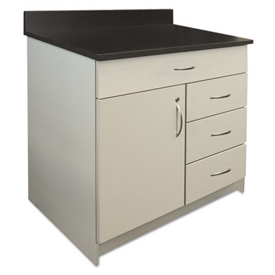 Hospitality Base Cabinet, Four Drawer/Door, 36w x 24d x 34h, Gra