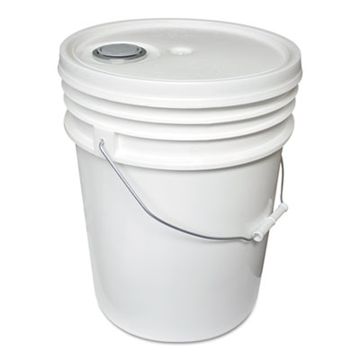 Utility Bucket w/Lid, Polyethylene, 5gal, White