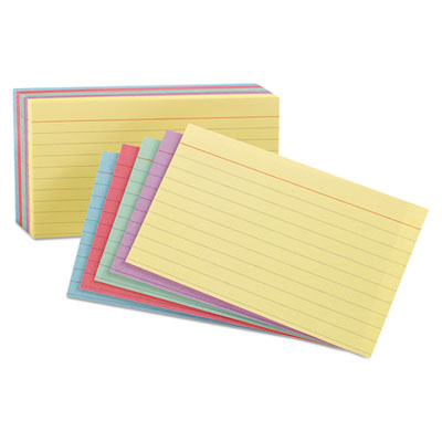 Index Cards, 3 x 5, Blue/Salmon/Green/Cherry/Canary, 100/Pack