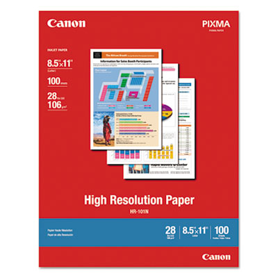 High Resolution Paper, Matte, 8-1/2 x 11, 28 lb., White, 100 She
