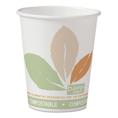 Bare PLA Paper Hot Cups, 10oz, White w/Leaf Design, 50/Bag, 20 B