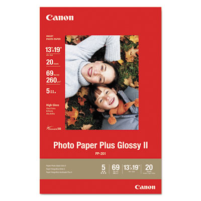 Photo Paper Plus Glossy II, 13 x 19, 10.6 mil, White, 20 Sheets/