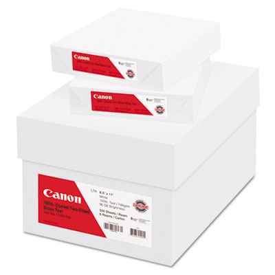 Coated Two-Sided Gloss Text Paper, 8-1/2 x 11, 80 lb., White, 50