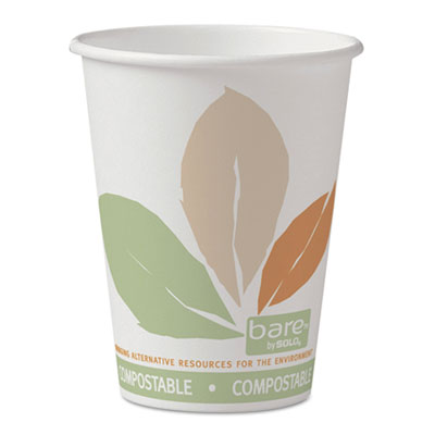 Bare PLA Paper Hot Cups, 12oz, White w/Leaf Design, 50/Bag, 20 B