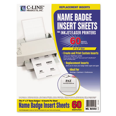 Additional Laser/Inkjet Badge Inserts, 3 x 4, White, 60/Pack