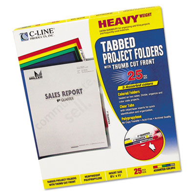 Heavyweight Tabbed Jacket Project Folders, Letter, Poly, Assorte