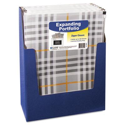 ZipNGo Expanding Portfolio, Letter, 13 Pockets, Plaid/Clear, 1/E