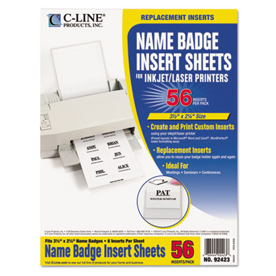 Additional Laser/Inkjet Badge Inserts, 3 1/2 x 2 1/4, White, 56/