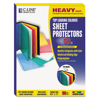Colored Polypropylene Sheet Protector, Assorted Colors, 11 x 8 1