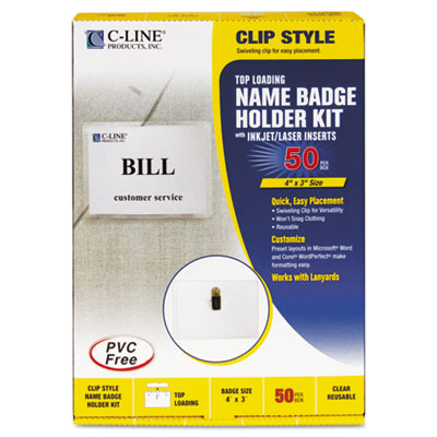 Badge Holder Kits, Top Load, 3 x 4, White, 50/Box