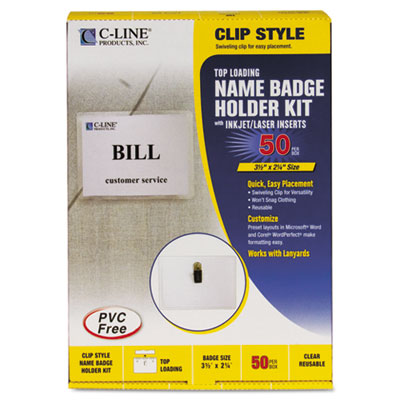 Badge Holder Kits, Top Load, 2 1/4 x 3 1/2, White, 50/Box