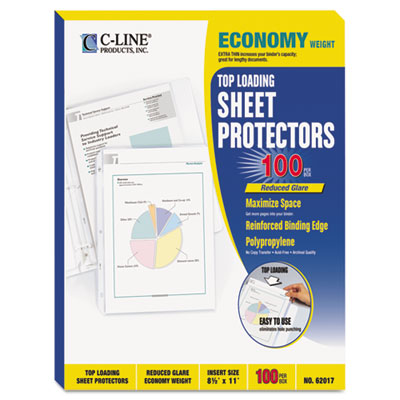 Economy Weight Poly Sheet Protector, Reduced Glare, 11 x 8 1/2,