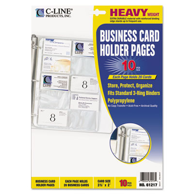 Business Card Binder Pages, Holds 20 Cards, 8 1/8 x 11 1/4, Clea