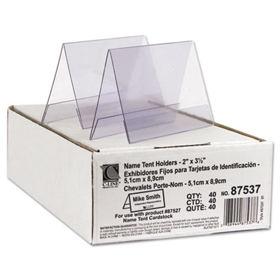 Tent Card Holder, 2 x 3 1/2, Clear, 40/Box