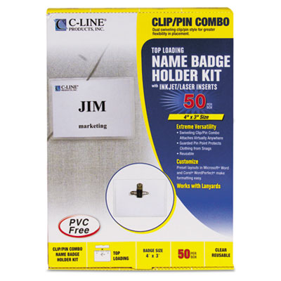 Badge Holder Kits, Top Load, 3 x 4, White, Combo Clip/Pin, 50/Bo
