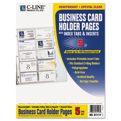Tabbed Business Card Binder Pages, 20 Cards Per Letter Page, Cle