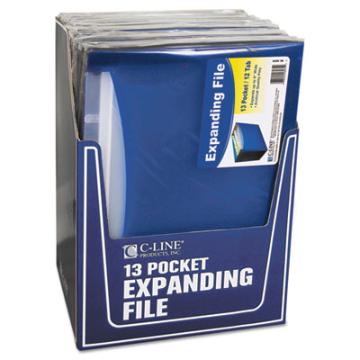 13-Pocket Expanding File, Nine Inch Expansion, Letter, Blue