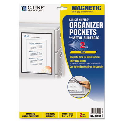 Magnetic Cubicle Keepers Display Holders, 8 1/2 x 11, Clear, 2/P