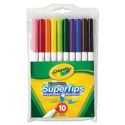 Washable SuperTips Markers, Assorted, 10/Pk