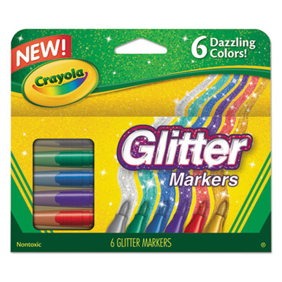 Glitter Markers, Assorted, 6/Set