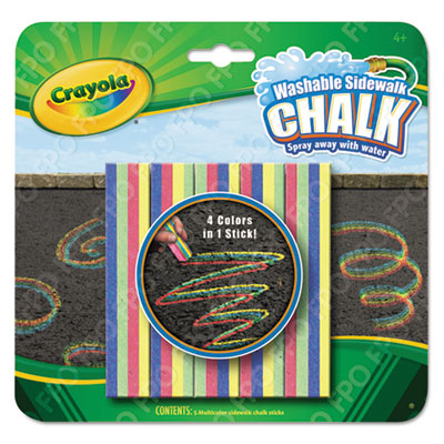 Washable Sidewalk Chalk 4 Colors in 1, Assorted, 5 per Set