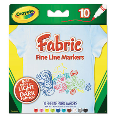 Fabric Markers, 10 Assorted Colors, 10/Set